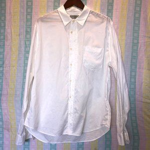 Vince White Regular Fit Solid Button Front Shirt L